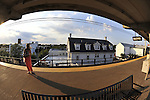 Long Island Railroad LIRR Merrick Station elevated tracks on July 16, 2011, at Merrick, Long Island, New York, USA (taken with 180 degree fisheye lens) original straight from card