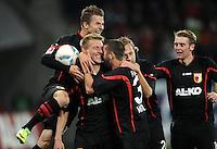 FUSSBALL   1. BUNDESLIGA  SAISON 2011/2012   10. Spieltag FC Augsburg - SV Werder Bremen           21.10.2011 Jubel nach dem Tor zum 1:0 , Daniel Baier,  Axel Bellinghausen , Sascha Moelders (v. li., FC Augsburg)