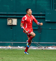 Blas Perez (7) of Panama celebrates a goal during the game at RFK Stadium in Washington, DC.  Panama defeated El Salvador on penalty kicks, 5-3, after tying, 1-1,  in regulation time.