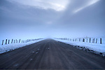 Idaho,Central,New Meadows. A country road in a foggy, snow covered landscape at dawn in winter.