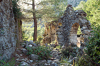 Olimpos, Turkey, October 2009. Rock tombs in the Ancient Lycian ruined city of Olimpos near Cirali.  The Blue Cruise on a wooden sailing yacht, better known as gulet, is one of the best ways to explore the Turkish Mediterranean Coast. Photo by Frits Meyst / MeystPhoto.com