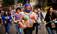 People take part in a march supporting prostitution in Bogota, Colombia. 25/02/2012.  Photo by Eduardo Munoz Alvarez / VIEWpress.