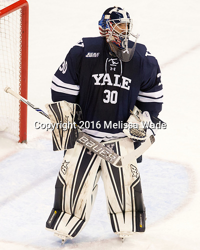 Patrick Spano (Yale - 30) The Boston University Terriers defeated the visiting Yale University Bulldogs 5-2 on Tuesday, December 13, 2016, at the Agganis Arena in Boston, Massachusetts.