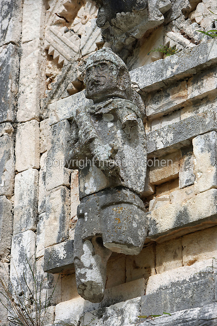 Sculpture of the Sacerdote (Priest), The Nunnery Quadrangle, Western Edifice, 900-1000 AD, Puuc architecture, Uxmal late classical Mayan site, Yucatan, Mexico. Picture by Manuel Cohen