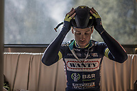 Pieter Vanspeybrouck (BEL/Wanty-Groupe Gobert) prepping for the race in the teambus<br /> <br /> 115th Paris-Roubaix 2017 (1.UWT)<br /> One Day Race: Compi&egrave;gne &rsaquo; Roubaix (257km)