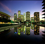 Music Center and Downtown Los Angeles Skyline refelcted in fountain at the DWP Building