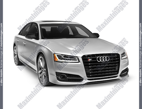 Silver 2016 Audi S8 Plus Sedan luxury car isolated on white background with clipping path
