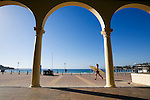 View through the columns of the historic Pavilion at Bondi Beach.  Sydney, New South Wales, AUSTRALIA.