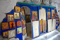 Interior of the Hill top Orthodox cave church above Naxos Thira, Naxos Island, Greek Cyclades Islands