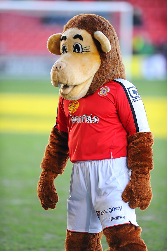 Crewe Alexandra mascot Gresty the Lion during the pre-match warm-up <br /> <br /> Photographer Craig Thomas/CameraSport<br /> <br /> Football - The Football League Sky Bet League One - Crewe Alexandra v Preston North End - Sunday 28th December 2014 - Alexandra Stadium - Crewe<br /> <br /> &copy; CameraSport - 43 Linden Ave. Countesthorpe. Leicester. England. LE8 5PG - Tel: +44 (0) 116 277 4147 - admin@camerasport.com - www.camerasport.com