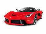 Red 2013 Ferrari F150 LaFerrari supercar sports car. Isolated on white background with clipping path.