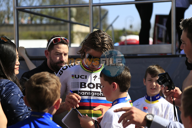 World Champion Peter Sagan (SVK) Bora-Hansgrohe team signs autographs for fans at the Team Presentation for the upcoming 115th edition of the Paris-Roubaix 2017 race held in Compiegne, France. 8th April 2017.<br /> Picture: Eoin Clarke | Cyclefile<br /> <br /> <br /> All photos usage must carry mandatory copyright credit (&copy; Cyclefile | Eoin Clarke)