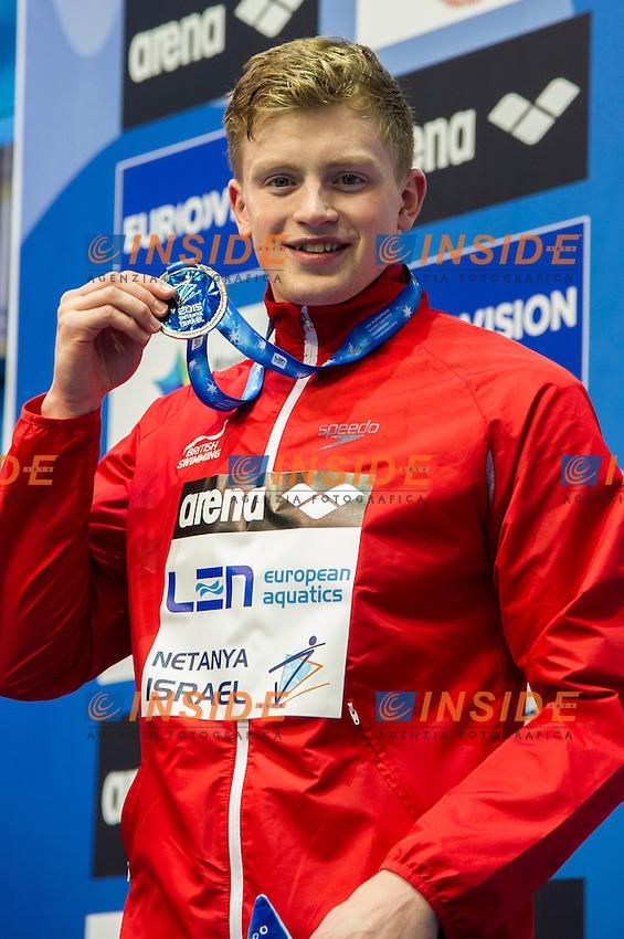 PEATY Adam GBR Silver Medal<br />100m Breaststroke Men Final<br />Netanya, Israel, Wingate Institute<br />LEN European Short Course Swimming Championships Dec. 2 - 6, 2015 <br /> Netanya 05-12-2015<br />Nuoto Campionati Europei di nuoto in vasca corta<br />Photo Giorgio Scala/Deepbluemedia/Insidefoto