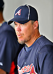 6 March 2011: Atlanta Braves' third baseman Chipper Jones watches play from the dugout during a Spring Training game against the Washington Nationals at Space Coast Stadium in Viera, Florida. The Braves shut out the Nationals 5-0 in Grapefruit League action. Mandatory Credit: Ed Wolfstein Photo