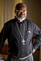 Sebastian Bakare, Bishop of Harare, in his office in Harare. He has suffered intimidation for his outspoken views..