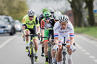 Adam Blythe (GBR/Aqua Blue Sport) leading the breakaway group<br /> <br /> 57th Brabantse Pijl - La Fl&egrave;che Braban&ccedil;onne (1.HC)<br /> 1 Day Race: Leuven &rsaquo; Overijse (197km)