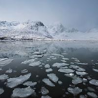 Mountain reflection in calm icy water of Flakstadpollen, Kilan, Flakstadøy, Lofoten Islands, Norway