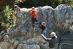 Berkeley CA Grandpa trying to supervise dangerous climbing activity of grandchildren, four to eight-years-old  MR