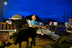 Craig Griffieon relaxing on the deck with Lorriane Walizer, LaVon Griffieon's sister, Griffieon Family Farm, Ankeny, Iowa.