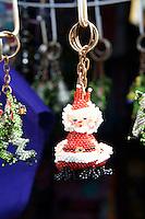 Santa Claus Christmas ornament key chain in Mercado 28 souvenirs and handicrafts market in  Cancun, Mexico      .