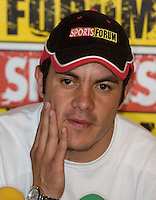 Mexican soccer player Cuauhtemoc Blanco talks to reporters during a press conference, April 03, 2006, after being left off Mexico's World Cup roster by the national soccer team coach Ricardo Antonio Lavolpe. Photo by © Javier Rodriguez
