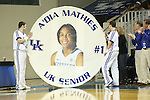 UK senior guard A'dia Mathies being honored during the first half of the women's basketball game vs. Tennessee at Memorial Coliseum on Sunday, March 3, 2013, in Lexington, Ky. Photo by Kalyn Bradford | Staff
