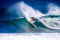Brad Gerlach (USA) surfing at Backdoor on the North Shore of Oahu Hawaii  circa 1992 Photo: joliphotos.com