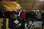 Motherwell 3 Dundee 1, 12/12/2015. Fir Park, Scottish Premiership. Young home team supporters celebrating victory at the final whistle as Motherwell played Dundee in a Scottish Premiership fixture at Fir Park. Formed in 1886, the  home side has played at Fir Park since 1895. Motherwell won the match by three goals to one, watched by a crowd of 3512 spectators. Photo by Colin McPherson.