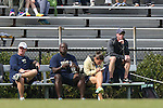 27 October 2013: Pittsburgh head coach Greg Miller (right) watches the game with his staff. The Duke University Blue Devils hosted the Pittsburgh University Panthers at Koskinen Stadium in Durham, NC in a 2013 NCAA Division I Women's Soccer match. Duke won the game 6-3.