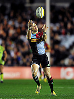 Mike Brown of Harlequins looks to claim the ball. Aviva Premiership match, between Harlequins and Sale Sharks on November 6, 2015 at the Twickenham Stoop in London, England. Photo by: Patrick Khachfe / Onside Images