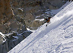 Skiing the Rhonde Couloir off the Aguille du Midi, Chamonix, France.
