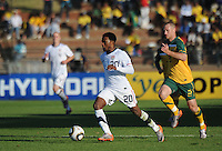 American forward Robbie Findley attackes off the left flank in the final U.S. tune-up friendly prior to the first match of the 2010 FIFA World Cup. The U.S. won the match over Australia, 3-1, played June 5th, in Ruimsig Stadium,  at Roodepoort, South Africa.