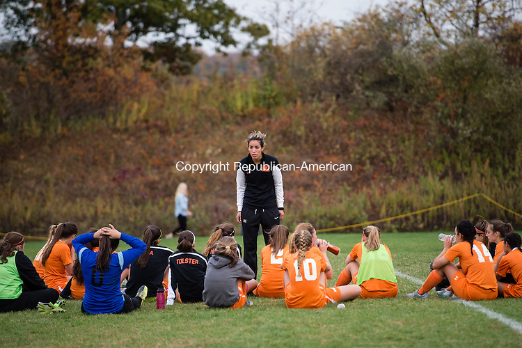 BEACON FALLS, CT- 22 October 2015-102215EC05-  Watertown's coach, Lisa Mariano, talks to her players during halftime Thursday. The Indians were down, 3-0, at that time. Erin Covey Republican-American
