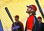 22 July 2011: Washington Nationals outfielder Jayson Werth awaits his turn in the batting cage prior to a game against the Los Angeles Dodgers at Dodger Stadium in Los Angeles, California. The Nationals defeated the Dodgers 7-2 in their first meeting of the 2011 season. Mandatory Credit: Ed Wolfstein Photo