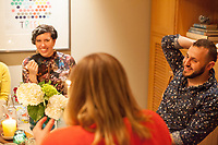 SEATTLE, WA-APRIL 17, 2017: Patricia Rangel speaks with Stefanie Fox and Hussein Saab, right, during the dinner party. <br /> <br /> Amanda Saab, along with her husband Hussein Saab, co-hosted a &quot;dinner with your Muslim neighbor&quot; at the home of Stefanie and Nason (cq) Fox in Seattle, WA on a return trip April 17th 2017. The couple now live in Detroit. The guests are <br /> <br /> <br /> (Photo by Meryl Schenker/For The Washington Post)