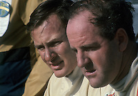 New Zeland racing drivers Bruce McLaren (left) and Denny Hulme (1967 Fomula 1 world champion).