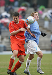 Virginia's Chris Tierney (l) and Carolina's Scott Campbell (7) challenge for the ball on Sunday, November 27th, 2005 at Fetzer Field in Chapel Hill, North Carolina. The University of North Carolina Tarheels defeated the University of Virginia Cavaliers 2-1 in a NCAA Men's Soccer Tournament Round of 16 game.