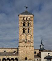 Bell tower, Iglesia de San Esteban (St Stephen's Church), 12th-13th centuries, Segovia, Castile and Leon, Spain. Late Romanesque sandstone church. Picture by Manuel Cohen