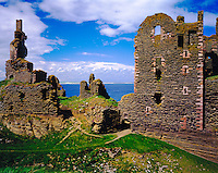 Ancient Castle Remains, North Sea, Scotland, United Kingdom    Sinclair and Girnigoe Castles (1400's)     Near wick
