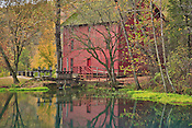 Autumn photo of Alley Springs, red historic mill taken by Leandra Lewis.