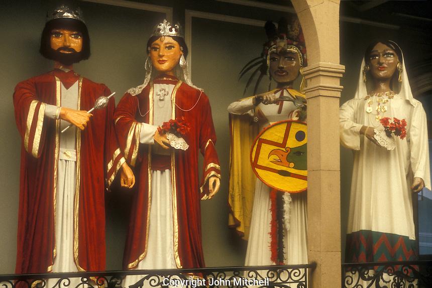 Giant papier mache figures or gigantes in the Museo Nacional de la Mascara or National Museum of the Mask, San Luis Potosi, Mexico