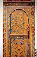Berber Arabesque Morcabe painted panels of the Marrakesh museum in the Dar Menebhi Palace, Marrakesh, Morocco