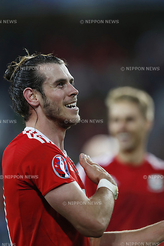 Gareth Bale (WAL), JULY 1, 2016 - Football / Soccer : Bale celebrate after winning UEFA EURO 2016 Quarter-finals match between Wales 3-1 Belgium at the Stade Pierre Mauroy in Lille Metropole, France. (Photo by Mutsu Kawamori/AFLO) [3604]
