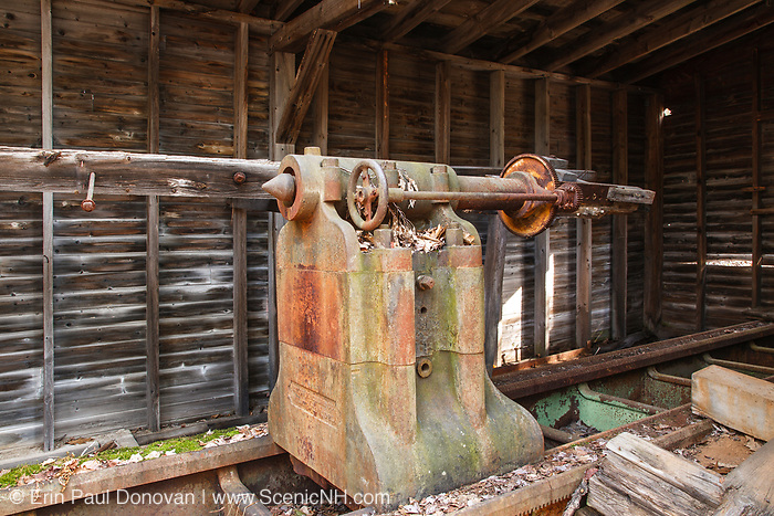 Polishing Lathe at the abandoned Redstone Granite quarry in Conway, New Hampshire USA.
