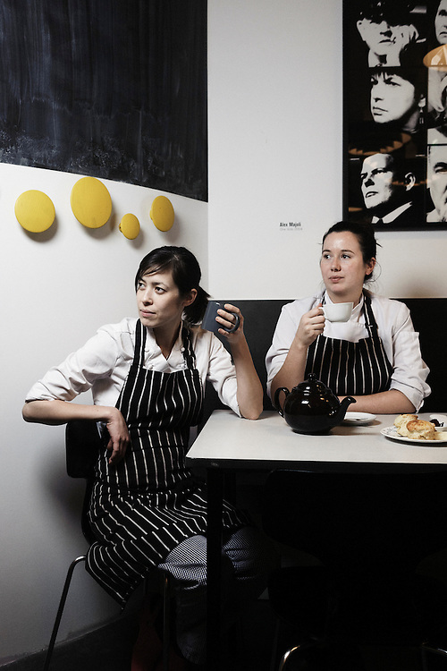 PARIS, FRANCE. DECEMBER 1st, 2010. Le Bal Cafe's chefs Anna Trattle (left) and Alice Quillet. (Photo by Antoine Doyen)