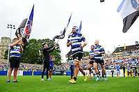 Leroy Houston of Bath Rugby runs out onto the field on his first match back at the club. Aviva Premiership match, between Bath Rugby and Worcester Warriors on September 17, 2016 at the Recreation Ground in Bath, England. Photo by: Patrick Khachfe / Onside Images