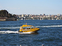 Yellow Water Taxi, Sydney Harbour, Sydney, Australia, 201003260019..Copyright Image from Victor Patterson, 54 Dorchester Park, Belfast, United Kingdom, UK. Tel: +44 28 90661296. Email: victorpatterson@me.com; Back-up: victorpatterson@gmail.com..For my Terms and Conditions of Use go to www.victorpatterson.com and click on the appropriate tab.