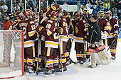 The Bulldogs celebrate the win. - The University of Minnesota-Duluth Bulldogs defeated the Union College Dutchmen 2-0 in their NCAA East Regional Semi-Final on Friday, March 25, 2011, at Webster Bank Arena at Harbor Yard in Bridgeport, Connecticut.