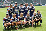27 June 2004: The starting lineup of the San Diego Spirit (with guest players from the Washington Freedom). Front row (l to r): Kim Pickup, Julie Fleeting, Christine Latham, Carrie Moore, Lindsay Stoecker, Julie Foudy. Back row (l to r): Angela Hucles, Jenni Branam, Shannon MacMillan, Joy Fawcett, Lisa Krzykowski. The San Diego Spirit defeated the Carolina Courage 2-1 at the Home Depot Center in Carson, CA in Womens United Soccer Association soccer game featuring guest players from other teams.