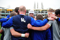 Dave Attwood of Bath Rugby speaks to his fellow forwards in a pre-match huddle. Aviva Premiership match, between Bath Rugby and Saracens on December 3, 2016 at the Recreation Ground in Bath, England. Photo by: Patrick Khachfe / Onside Images